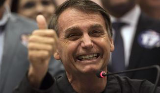 Jair Bolsonaro, the maverick, politically incorrect, far-right populist presidential candidate, was leading his opponent by 18 percentage points a week before Brazil's election runoff. (Associated Press/File)