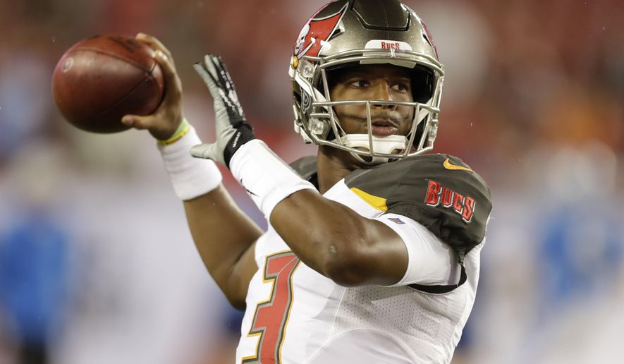 FILE - In this Aug. 24, 2018 file photo, Tampa Bay Buccaneers quarterback Jameis Winston throws a pass before an NFL preseason football game against the Detroit Lions in Tampa, Fla. Winston is working off the rust and preparing for his first start for the Buccaneers since serving a three-game suspension for violating the NFL's personal conduct policy.(AP Photo/Chris O'Meara, File)