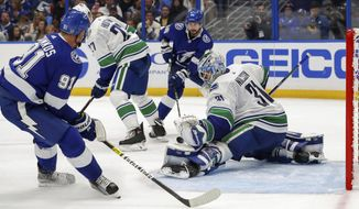 Vancouver Canucks goaltender Anders Nilsson, of Sweden, makes a save against Tampa Bay Lightning's Steven Stamkos during the second period of an NHL hockey game Thursday, Oct. 11, 2018, in Tampa, Fla. (AP Photo/Mike Carlson)