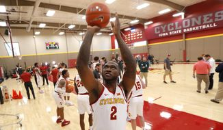 Iowa State forward Cameron Lard (2) shoots a basket during Iowa State's NCAA college basketball media day, Thursday, Oct. 11, 2018, in Ames, Iowa. (AP Photo/Charlie Neibergall)