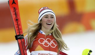FILE - In this Thursday, Feb. 22, 2018 file photo,United States' Mikaela Shiffrin smiles after competing in the women's combined slalom at the 2018 Winter Olympics in Jeongseon, South Korea. Turns out, even two-time World Cup overall champion Mikaela Shiffrin gets nervous in the start gate. It first struck her two years ago and hit her again before the Olympic slalom race last winter when she finished fourth. (AP Photo/Michael Probst, File)