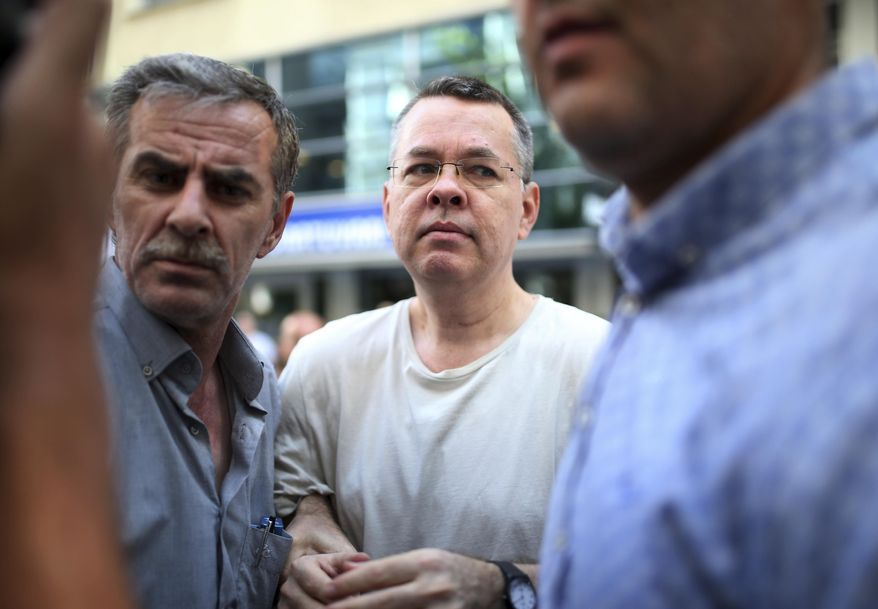 In this July 25, 2018, file photo, Andrew Craig Brunson, an evangelical pastor from Black Mountain, North Carolina, arrives at his house in Izmir, Turkey. (AP Photo/Emre Tazegul, File)