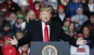 President Donald Trump speaks at a rally endorsing the Republican ticket, Friday, Oct. 12, 2018, in Lebanon, Ohio. (AP Photo/John Minchillo) **FILE**