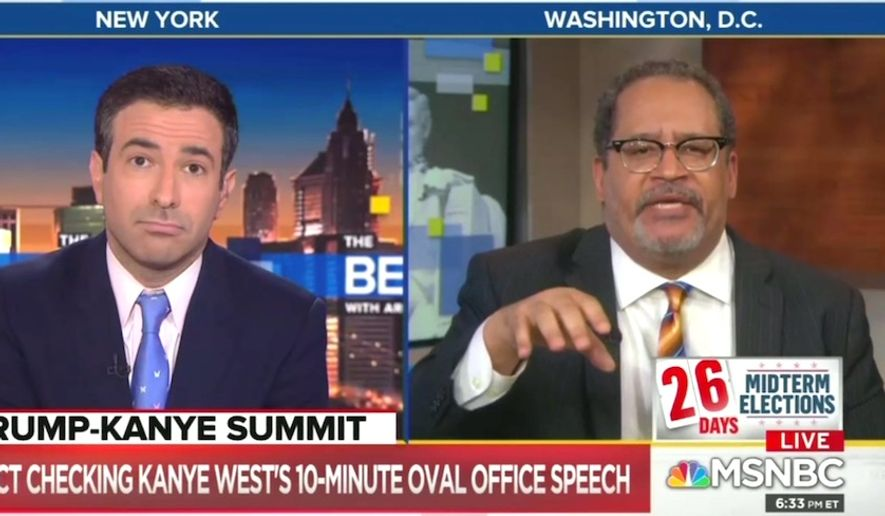 """Georgetown University professor and New York Times contributor Michael Eric Dyson told MSNBC's Ari Melber on Oct. 11, 2018, that Kanye West's support for President Trump is a form of """"white supremacy by ventriloquism."""" (Image: MSNBC screenshot)"""