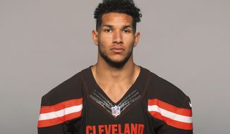 FILE - This 2018 file photo, shows Derrick Willies of the Cleveland Browns. Willies broke his collarbone in practice on Friday, OCt. 12, 2018, and will likely miss several weeks. (AP Photo/File)