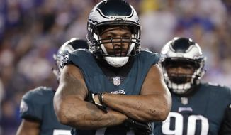 Philadelphia Eagles defensive end Michael Bennett celebrates after a strip sack on New York Giants quarterback Eli Manning during the first half of an NFL football game Thursday, Oct. 11, 2018, in East Rutherford, N.J. The Giants recovered the fumble on the play. (AP Photo/Julio Cortez)