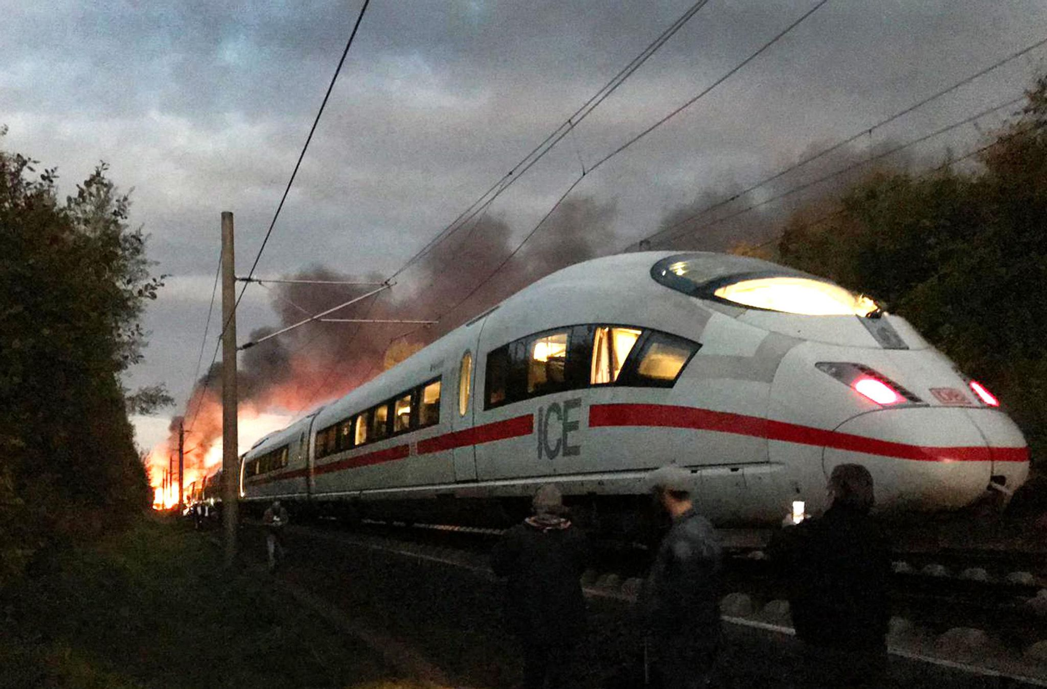 Train catches fire in southern Germany; no injuries
