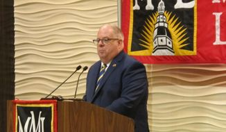 Maryland Gov. Larry Hogan highlights his work with local officials during a speech to the Maryland Municipal League in Annapolis, Md., on Friday, Oct. 12, 2012. (AP Photo/Brian Witte)