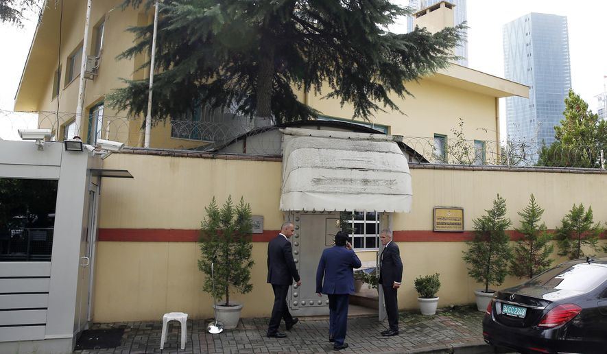 "Saudi officials enter Saudi Arabia's consulate in Istanbul, Friday, Oct. 12, 2018. A senior Turkish official says Turkey and Saudi Arabia will form a ""joint working group"" to look into the disappearance of Saudi writer Jamal Khashoggi who vanished last week after entering the Saudi diplomatic mission in Istanbul. (AP Photo/Petros Giannakouris)"