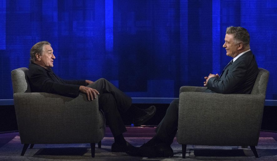 "This image released by ABC shows host Alec Baldwin, right, speaking with actor Robert De Niro during an appearance on ""The Alec Baldwin Show,"" a talk show premiering Sunday, Oct. 14 on ABC. (Heidi Gutman/ABC via AP)"