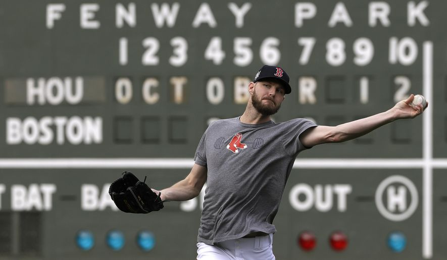 Boston Red Sox pitcher Chris Sale throws during a baseball workout at Fenway Park, Friday, Oct. 12, 2018, in Boston. Sale is scheduled to start against the Houston Astros in Game 1 of the baseball American League Championship Series, Saturday in Boston. (AP Photo/Elise Amendola)