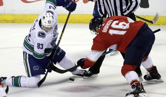Vancouver Canucks center Jay Beagle (83) and Florida Panthers center Aleksander Barkov (16) go for the puck during the first period of an NHL hockey game, Saturday, Oct. 13, 2018, in Sunrise, Fla. (AP Photo/Lynne Sladky) ** FILE **