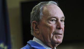 Former New York City Mayor Michael Bloomberg speaks at a Moms Demand Action gun safety rally at City Hall in Nashua, N.H. Saturday, Oct. 13, 2018. (AP Photo/ Cheryl Senter)