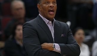 "FILE - In this Sept. 30, 2018 file photo, New Orleans Pelicans' head coach Alvin Gentry calls out to his team during the second half of a preseason NBA basketball game against the Chicago Bulls in Chicago. ""You've got to take it and use it as best you can,"" said  Gentry, who said he resisted using some data that he was presented several years ago when he coached in Phoenix, and wound up taking that Suns team to the Western Conference finals. ""But at the end of the day, I think the instincts that you have as a coach become just as important, really.""(AP Photo/Jim Young, File)"