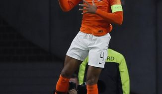 Netherland's Virgil Van Dijk celebrates after scoring the opening goal during the UEFA Nations League soccer match between The Netherlands and Germany at the Johan Cruyff ArenA in Amsterdam, Saturday, Oct. 13, 2018. (AP Photo/Peter Dejong)