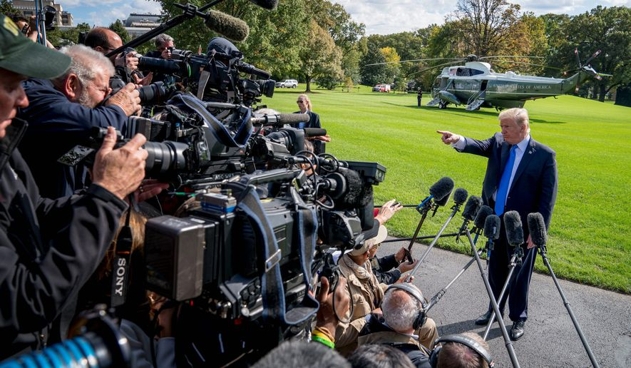 """The majority of Americans, 55 percent, say they believe President Trump is just """"venting,"""" when he slams journalists and news media. Both Democrats and Republicans agree on this, the study says. (Associated Press)"""