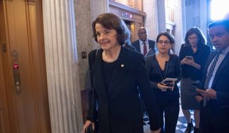 No new polling has emerged since the Kavanaugh confirmation vote, but experts said Sen. Dianne Feinstein, a five-term senator, has not been pushed off her path to re-election. She is being challenged by state Sen. Kevin de Leon. (Associated Press)