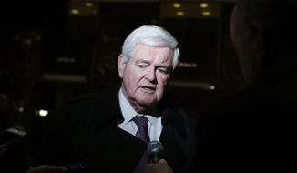 Former House Speaker Newt Gingrich speaks to the media at Trump Tower, Monday, Nov. 21, 2016 in New York, after meeting with President-elect Donald Trump. (AP Photo/Carolyn Kaster)
