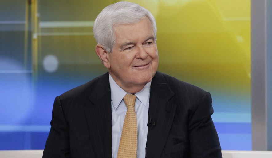 "Former Speaker of the House Newt Gingrich is interviewed on the ""Fox & friends"" television program, in New York Thursday, May 24, 2018. (AP Photo/Richard Drew)"