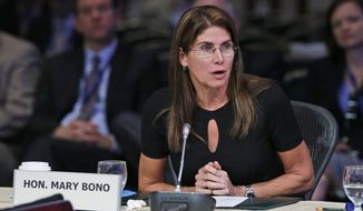 Congresswoman Mary Bono, R-Ca., speaks during a meeting of the Joint Committee Session on addressing the Nation's Opiod Crisis at the National Governors Association Summer meeting at the Greenbrier in White Sulphur Springs, W. Va., Saturday, July 25, 2015.  (AP Photo/Steve Helber)