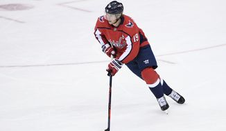 Washington Capitals center Nicklas Backstrom (19), of Sweden, skates with the puck during the third period of an NHL hockey game against the Toronto Maple Leafs, Saturday, Oct. 13, 2018, in Washington. The Maple Leafs won 4-2. (AP Photo/Nick Wass) ** FILE **