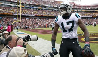 Carolina Panthers wide receiver Devin Funchess (17) celebrates his touchdown pass reception during the first half of an NFL football game against the Washington Redskins, Sunday, Oct. 14, 2018 in Landover, Md. (AP Photo/Pablo Martinez Monsivais)