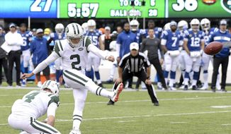 New York Jets kicker Jason Myers (2), with Lac Edwards (4) holding, kicks his sixth field goal of the game during the second half of an NFL football game against the Indianapolis Colts, Sunday, Oct. 14, 2018, in East Rutherford, N.J. (AP Photo/Bill Kostroun)