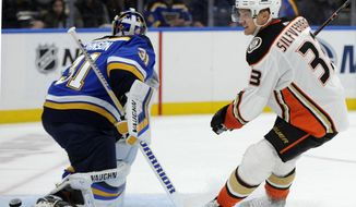 Anaheim Ducks' Jakob Silfverberg (33), of Sweden, scores against St. Louis Blues' Chad Johnson (31) during the first period of an NHL hockey game, Sunday, Oct. 14, 2018, in St. Louis. (AP Photo/Bill Boyce)