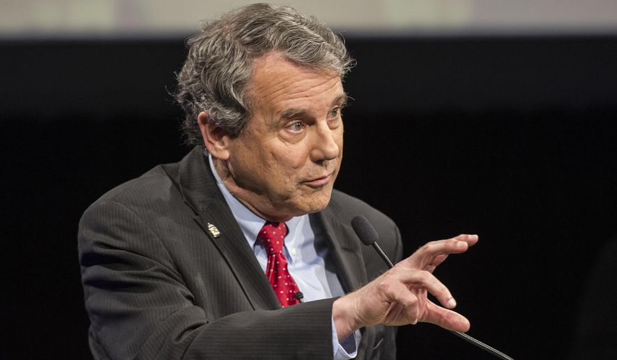 Sen. Sherrod Brown, D-Ohio, speaks during a debate at the Idea Center in Playhouse Square, Sunday, Oct. 14, 2018, in Cleveland. (AP Photo/Phil Long, Pool)