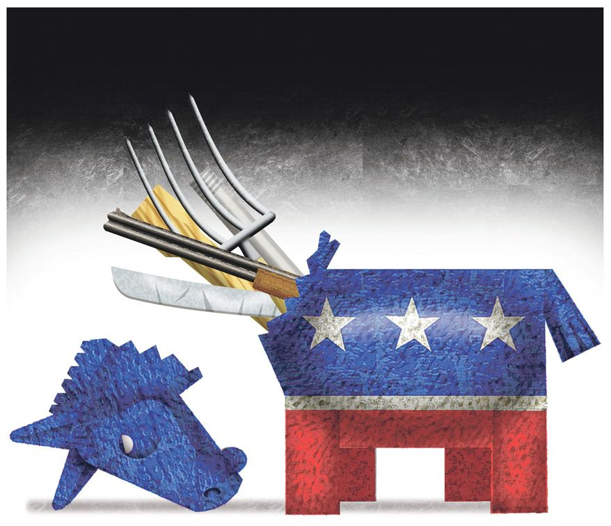 Illustration on violence emerging from the Democratic party by Alexander Hunter/The Washington Times