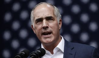 Sen. Bob Casey D-Pa., speaks at a campaign rally for Pennsylvania candidates in Philadelphia, Friday, Sept. 21, 2018. (AP Photo/Matt Rourke)