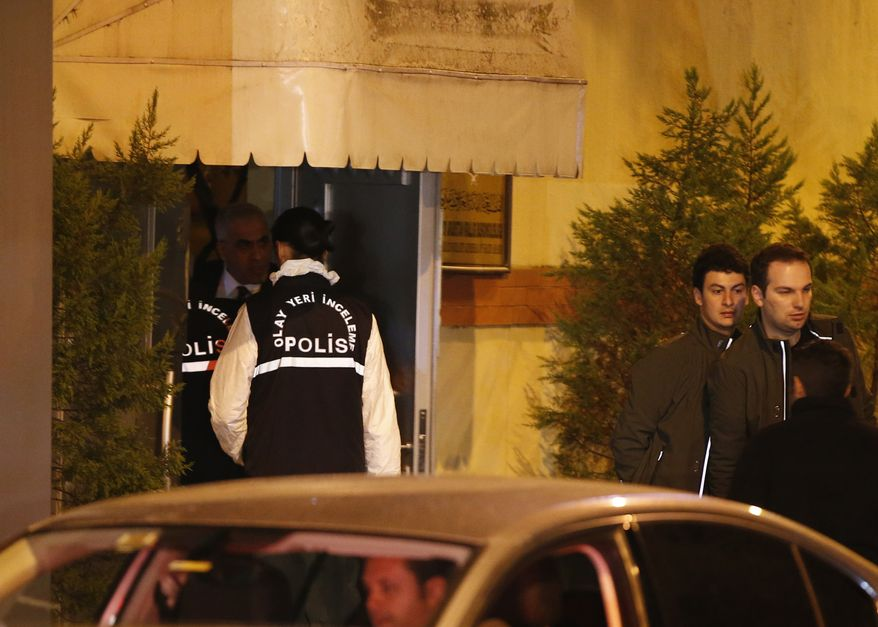 "Turkish police officers enter the Saudi Arabia's Consulate in Istanbul, Monday, Oct. 15, 2018. Turkey and Saudi Arabia are conducting a joint ""inspection"" on Monday of the consulate, where Saudi journalist Jamal Khashoggi went missing nearly two weeks ago, Turkish authorities said.v(AP Photo/Emrah Gurel)"