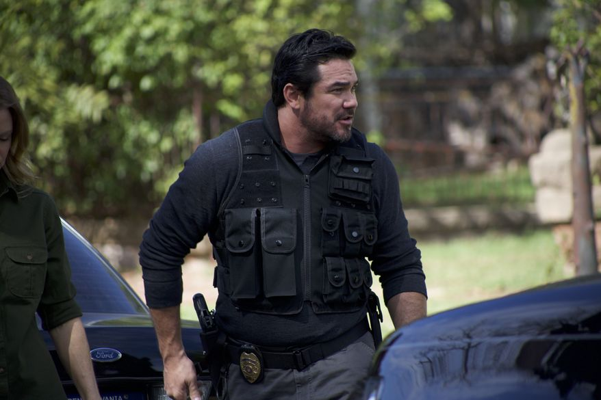 """Actor Dean Cain shown here in the role of detective James Woods, part of the cast """"Gosnell: The Trial of America's Biggest Serial Killer,"""" an independent dramatic film. (Image courtesy of Gosnellmovie.com/Phelim McAleer and Ann McElhinney)"""