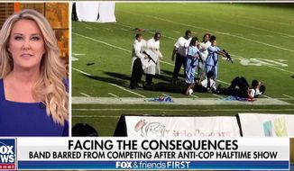 """The Forest Hill High School band has been barred from competition in the wake of a """"John Q""""-inspired halftime show. The Mississippi performance required students dressed as doctors and nurses to point fake rifles at peers portraying police officers. (Image: Fox News screenshot)"""