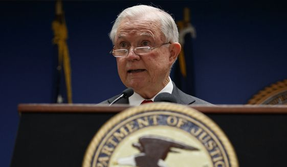 Attorney General Jeff Sessions speaks during a news conference at the U.S. Attorney's Office for the District of Columbia in Washington, Monday, Oct. 15, 2018, to announce on efforts to reduce transnational crime. (AP Photo/Carolyn Kaster)