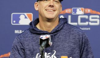 Houston Astros manager AJ Hinch speaks during a news conference Monday, Oct. 15, 2018, in Houston. The Astros will face the Boston Red Sox in Game 3 of the baseball American League Championship Series Tuesday Oct. 16 2018. (AP Photo/Frank Franklin II)