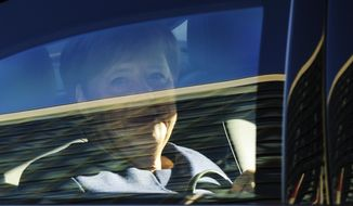 German Chancellor Angela Merkel arrives at the Christian Democratic Union party's headquarters for a leaders' meeting in Berlin, Monday, Oct. 15, 2018, the day after the Bavarian state elections. (AP Photo/Markus Schreiber)