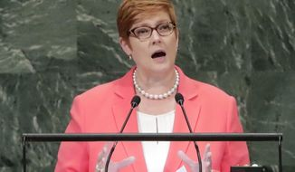 FILE - In this Friday, Sept. 28, 2018, file photo, Australia's Foreign Minister Marise Payne addresses the 73rd session of the United Nations General Assembly at the United Nations headquarters. Payne says her country's alliance with the United States has never been more vital in an era of escalating challenges in the Indo-Pacific region. (AP Photo/Frank Franklin II)