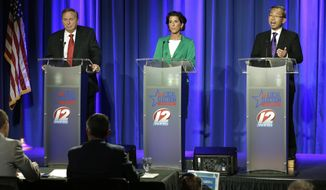 FILE - In this Sept. 27, 2018 file photo, Rhode Island gubernatorial candidates, from left, former state Rep. Joseph Trillo, who is running as an independent, Democratic Gov. Gina Raimondo, and Republican Cranston Mayor Allan Fung, participate in a televised debate in Bristol, R.I. The three candidates have different plans for how to improve the state's economy, combat opioid addiction and keep school children safe, as they approach the Nov. 6 general election. (AP Photo/Steven Senne, File)