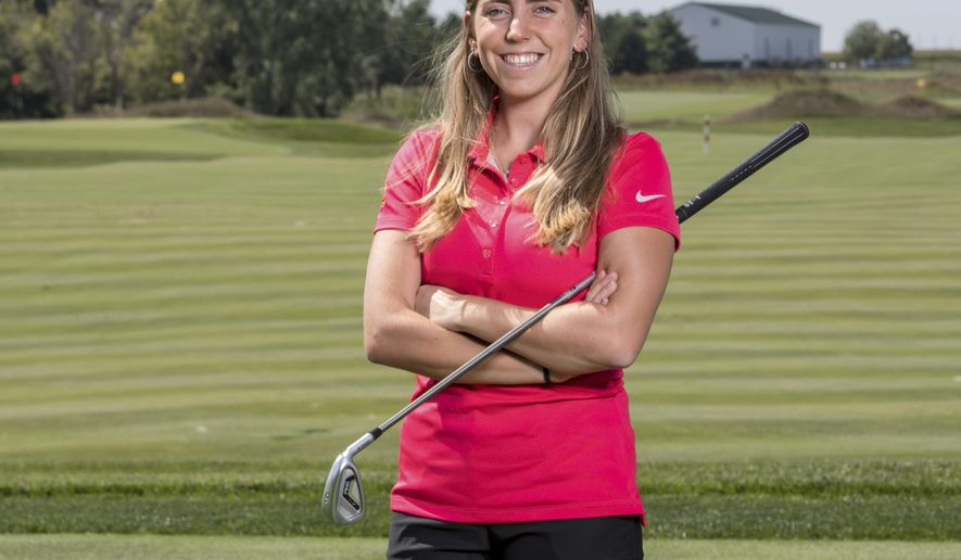 FILE - In this Sept. 7, 2017, file photo provided by Iowa State University in Ames, Iowa, golfer Celia Barquin Arozamena poses for a photo. The former ISU golfer was found dead Monday, Sept. 17, 2018, at a golf course in Ames. Collin Richards, was arrested and charged with first-degree murder in her death. Search warrant documents filed Friday, Oct. 12, 2018, indicate police have recovered three knives in the investigation into the killing. One knife was found at a campsite in Ames to which Richards has been connected. (Luke Lu/Iowa State University via AP, File)