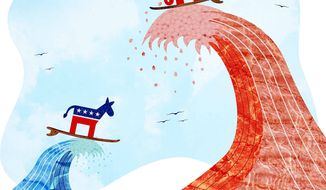 "Ebb Tide for the ""Blue Wave"" Illustration by Greg Groesch/The Washington Times"