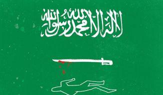 Illustration on Saudi corruption by Linas Garsys/The Washington Times