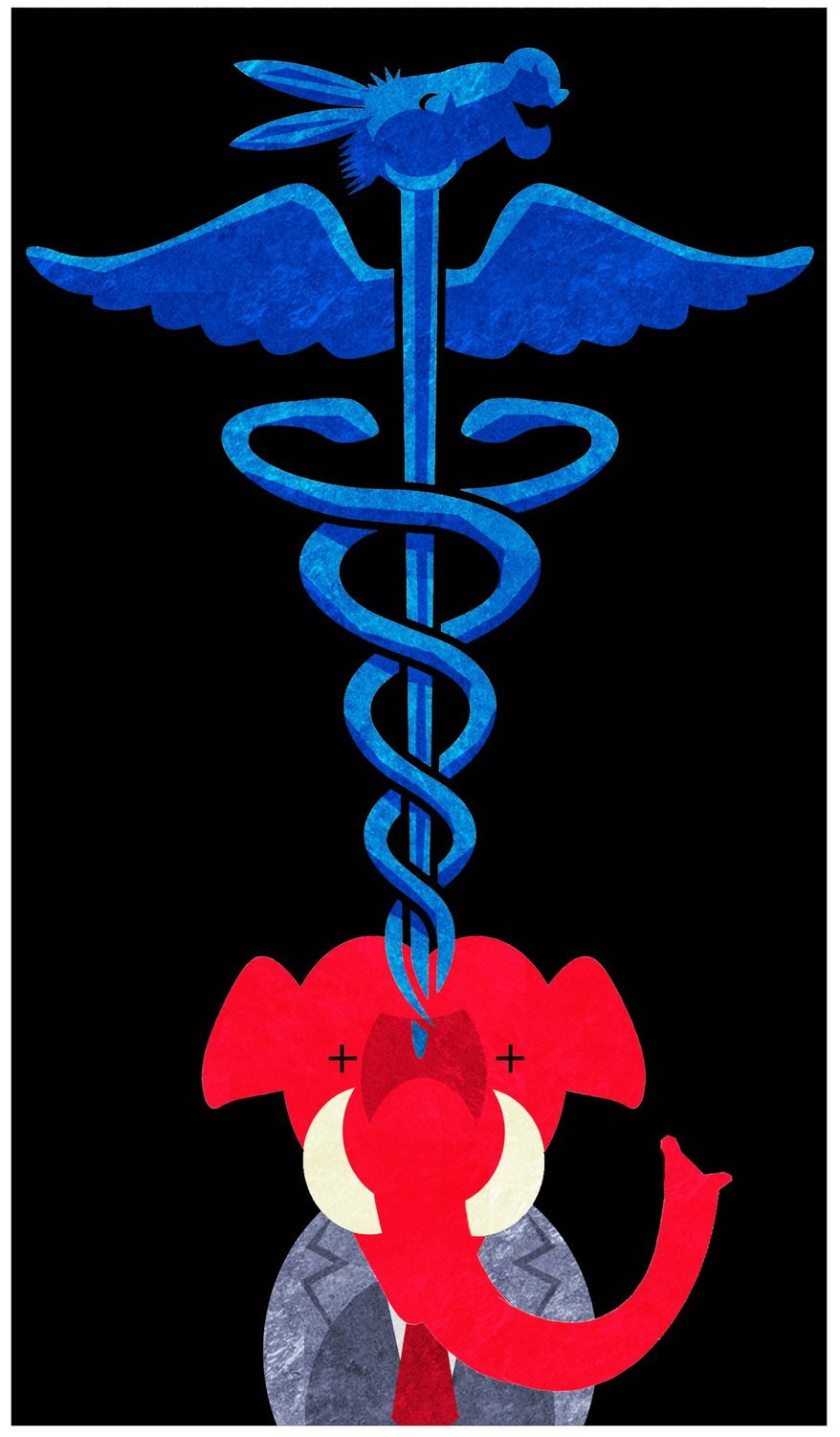Illustration on the Democrats' new found favor in Obamacare by Alexander Hunter/The Washington Times