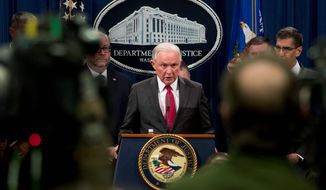 """""""When I came there were three open leak investigations,"""" said Attorney General Jeff Sessions. """"We raised that to 27 in the first year,"""" he said. Leaks have dogged President Trump even before he took office, with the salacious Steele dossier and secret information about his national security adviser. (Associated Press)"""