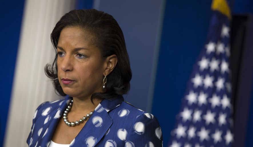 In this July 22, 2015, file photo, then-National Security Adviser Susan Rice participates in a briefing at the White House in Washington. (AP Photo/Evan Vucci, File)