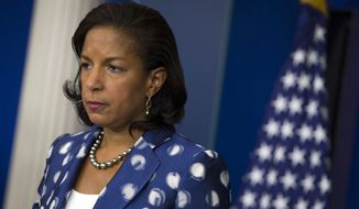 FILE - In this July 22, 2015 file photo, National Security Adviser Susan Rice participates in a briefing at the White House in Washington. Rice says America's top diplomatic and defense brass needs to become more diverse. Saying minorities still make up less than a fifth of senior U.S. diplomats, and less than 15 percent of top military and intelligence officials. But minorities are 40 percent of the population nationwide. (AP Photo/Evan Vucci, File)