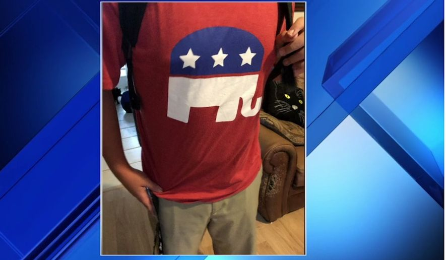 A student at Kirby-Smith Middle School in Jacksonville, Florida, has received an apology from officials after an employee advised him to turn a GOP elephant shirt inside out. (Image: WJXT, News4Jax screenshot)