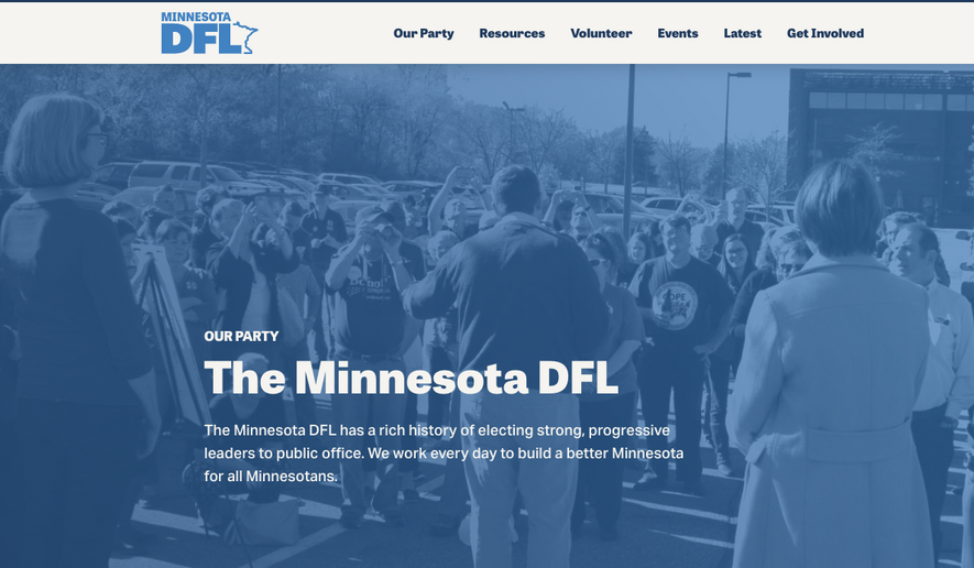 Screenshot of the Minnesota Democratic-Farmer-Labor Party's Website.