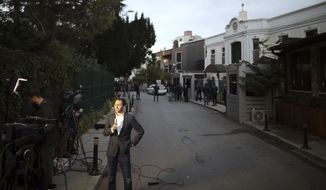 A TV journalist reports outside the Saudi Arabia consul's residence, in Istanbul, Tuesday, Oct. 16, 2018. A Turkish Foreign Ministry official says Turkish authorities will search the residence over missing Saudi journalist Jamal Khashoggi's unexplained disappearance. Khashoggi disappeared two weeks ago on a visit to the nearby consulate and Turkish officials fear Saudi officials killed and dismembered the writer inside the mission. (AP Photo/Emrah Gurel)