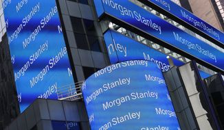 FILE - This March 1, 2017, file photo shows the Morgan Stanley headquarters in New York. Morgan Stanley reports earnings Tuesday, Oct. 16, 2018. (AP Photo/Mark Lennihan, File)